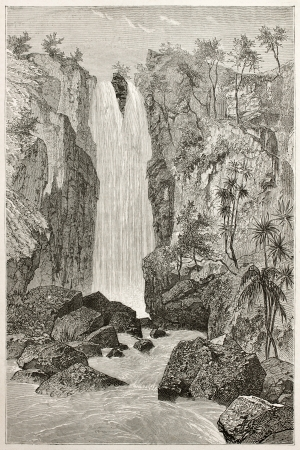 african ancestry: Zaora waterfalls old illustration, Abyssinia. Created by Ciceri after Lejean, published on Le Tour du Monde, Paris, 1867