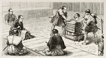 Accused man in a Japanese tribunal, old illustration. Created by Crepon, published on Le Tour Du Monde, Ed. Hachette, Paris, 1867 Stock Photo - 15181084
