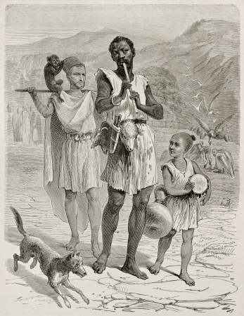 Algerian people in Kabylie old illustration. Created by Stop after Duhousset, published on Le Tour Du Monde, Paris, 1867