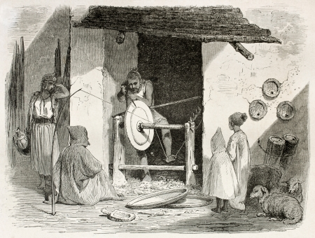 northern african: Algerian turner in Kabylia, old illustration. Created by Stop after Duhousset, published on Le Tour Du Monde, Paris, 1867 Editorial