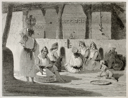 Algerian women in home interior old illustration. Created by Stop after Duhousset, published on Le Tour Du Monde, Paris, 1867