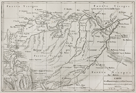 reported: Amazon basin map (unexplored Amazon tributaries reported by French explorer Paul Marcoy). By unidentified author, published on Le Tour du Monde, Paris, 1867