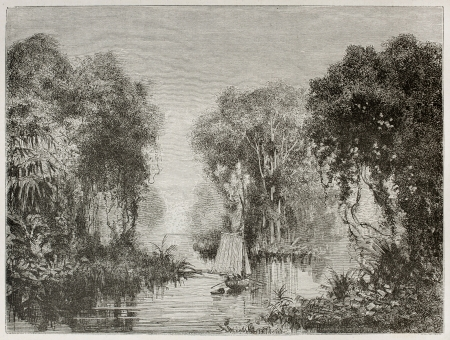 río amazonas: Archipiélago en Amazon vista al río viejo. Creado por Riou, publicado en Le Tour Du Monde, París, 1867
