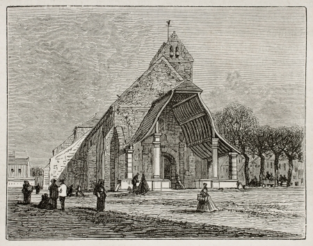 Avon church old view, France. Created by Grenet, published on Le Tour du Monde, Paris, 1867 Stock Photo - 15181120