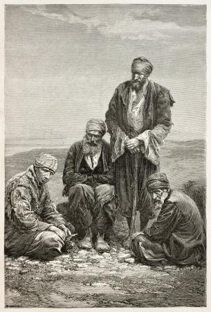 babylonian: Babilonia Judios viejo retrato grabado. Creado por Neuville despu�s de la foto de autor desconocido, publicado en Le Tour du Monde, Par�s, 1867 Editorial