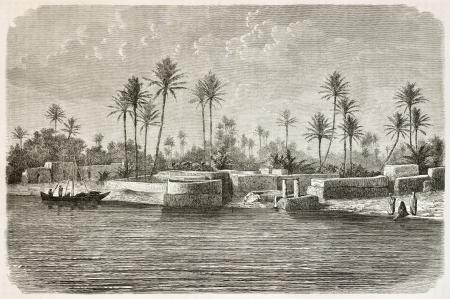 Bagdad entorno a lo largo del río Tigris. Creado por Bar De tras foto de autor desconocido, publicado en Le Tour du Monde, París, 1867
