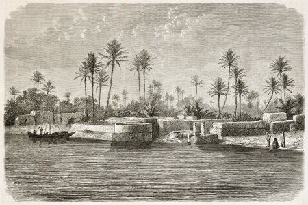 Baghdad surroundings along Tigris river. Created by De Bar after photo of unknown author, published on Le Tour du Monde, Paris, 1867