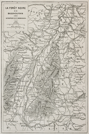 Black Forest old map and Rhine basin. Created by Erhard, published on Le Tour Du Monde, Paris, 1867