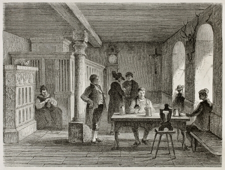 inn: Black Forest hotel interior old illustration, Germany. Created by Stroobant, published on Le Tour Du Monde, Paris, 1867