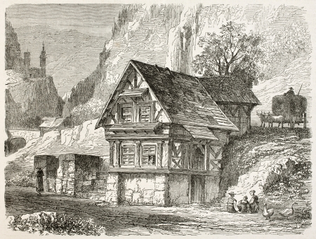 black ancestry: Peasants house in the Black Forest, Germany. Created by Stroobant, published on Le Tour Du Monde, Paris, 1867