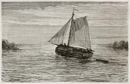río amazonas: En barco por el río Amazonas ilustración edad. Creado por Riou, publicado en Le Tour du Monde, París, 1867