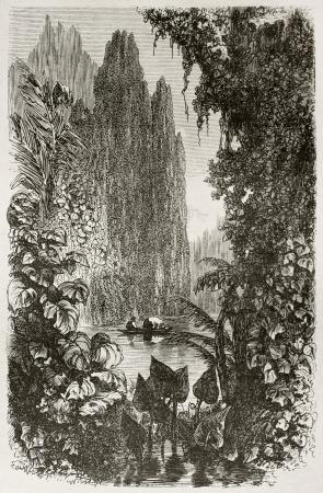 río amazonas: Breves barrio antiguo punto de vista, Brasil. Creado por Riou, publicado en Le Tour du Monde, París, 1867