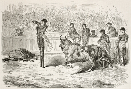 Bullfighter on stilts killing bull. Created by Gustave Dore, published on Le Tour Du Monde, Paris, 1867