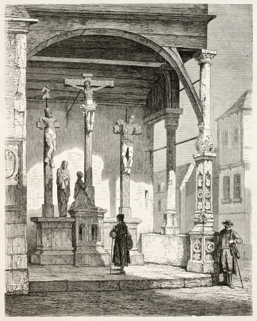 Calvary sculpture in Bad Wimpfen old illustration, Germany. Sculpted by Backoffen de Mayence, drawing by Stroobant, published on Le Tour Du Monde, Paris, 1867