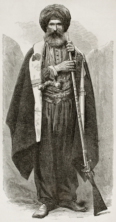 semite: Old Chaldean man engraved portrait. Created by Bayard after photo of unknown author, published on Le Tour du Monde, Paris, 1867