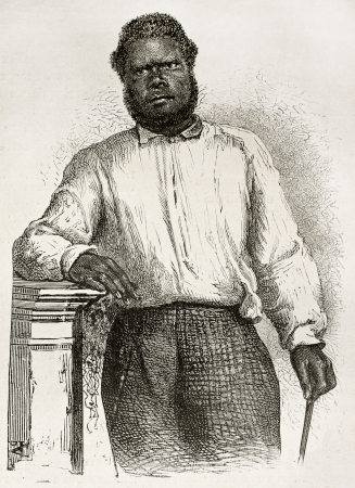 black ancestry: Chatton old engraved portrait (Kanak natives school teacher in Noumea, New Caledonia). Created by Loudet after photo by unknown author, published on Le Tour Du Monde, Paris, 1867