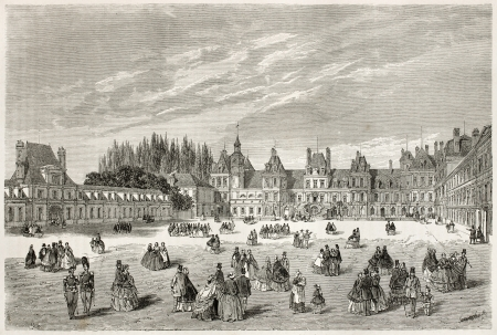 palais: Cheval-Blanc (White horse) courtyard in Fointainebleau palace, also known as Cour-des-Adieux, France. Created by Therond, published on Le Tour du Monde, Paris, 1867