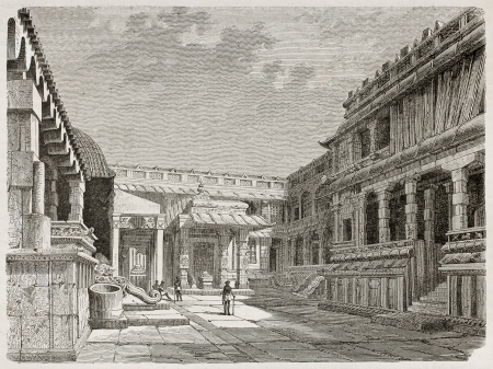 hindu temple: Chidambaram pagoda octies: internal court. Created by Clerget, published on Le Tour du Monde, Paris, 1867 Editorial
