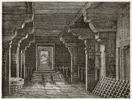 asian ancestry: Chidambaram pagoda interior, India. Created by Clerget, published on Le Tour du Monde, Paris, 1867 Editorial