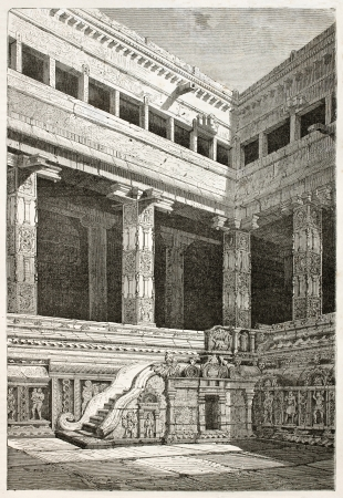 hindu temple: Chidambaran pagoda, courtyard corner, stairs and porch old view, India. Created by Clerget after Paris, published on Le Tour du Monde, Paris, 1867