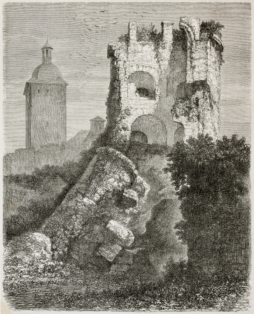 black ancestry: Collapsed tower in Heidelber castle, old view, Germany. Created by Stroobant, published on Le Tour Du Monde, Paris, 1867