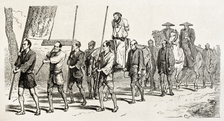 Carrying condemned man to punishment. Created by Crepon, published on Le Tour Du Monde, Ed. Hachette, Paris, 1867 Stock Photo - 15181082
