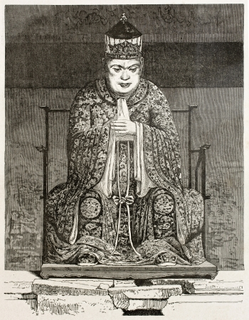asian ancestry: Confucius antique image (Confucius temple, Guangzhou). Created by Therond after photo by unknown author, published on Le Tour Du Monde, Ed. Hachette, Paris, 1867