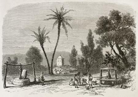 african ancestry: Djema-Sah-Ridj old view, Algeria. Created by Duhousset, published on Le Tour Du Monde, Paris, 1867