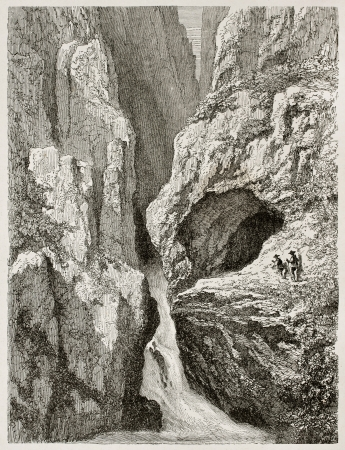 black ancestry: Edelfrauengrabe waterfalls old view, Black Forest, Germany. Created by Stroobant, published on Le Tour Du Monde, Paris, 1867