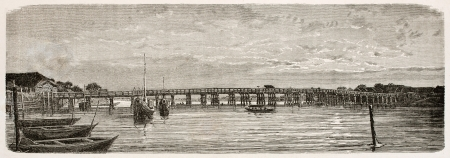 sumida: Eitai bridge old view, Edo (Tokyo). Created by Clerget after photo by unknown author, published on Le Tour Du Monde, Ed. Hachette, Paris, 1867