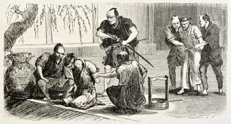 Japanese execution old illustration. Created by Crepon, published on Le Tour Du Monde, Ed. Hachette, Paris, 1867 Stock Photo - 15181094