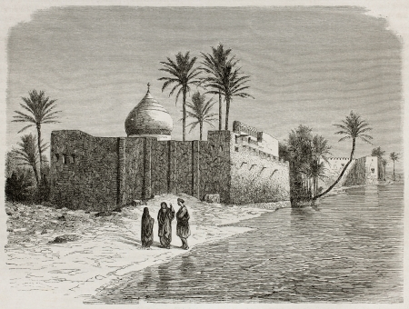 Ezra's tomb old view, Iraq. Created by De Bar after Lejean, published on Le Tour du Monde, Paris, 1867