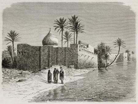Ezras tomb old view, Iraq. Created by De Bar after Lejean, published on Le Tour du Monde, Paris, 1867