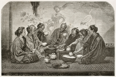 Japanese family meal old illustration. Created by Neuville after photo by unknown author, published on Le Tour Du Monde, Ed. Hachette, Paris, 1867