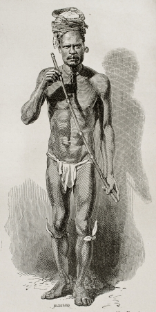 loincloth: New Claledonian fife player old  engraved portrait. Reated by Neuville after photo by unknown author, published on Le Tour Du Monde, Paris, 1867
