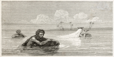 babylonian: Babylonian people using life-preservers to float on Tigris river. Created by Neuville after Lejean, published on Le Tour du Monde, Paris, 1867 Editorial