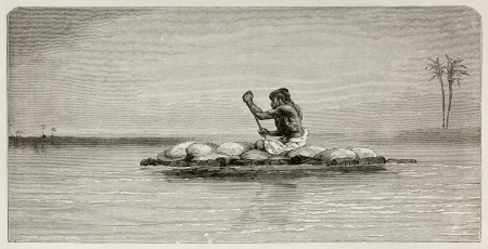 Man floating on a raft in Tigris river, old illustration. Created by Neuville after Lejean, published on Le Tour du Monde, Paris, 1867
