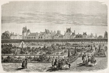 palais: Fointainebleau palace old view from gardens. Created by Therond, published on Le Tour du Monde, Paris, 1867