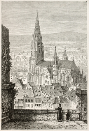 Freiburg Minster old view, Germany. Created by Stroobant, published on Le Tour Du Monde, Paris, 1867