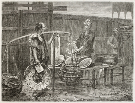 Japanese fried fish merchant selling shellfish. Created by Neuvilleafter Japanese sketch by unknown author, published on Le Tour Du Monde, Ed. Hachette, Paris, 1867 Stock Photo - 15181271