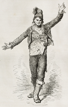 Gallego dancing Gallegada, old illustration. Created by Gustave Dore, published on Le Tour Du Monde, Ed. Hachette, Paris, 1867