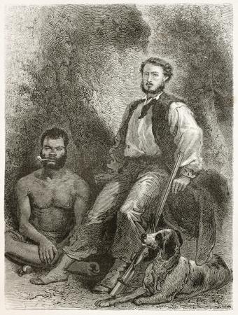 descubridor: Antiguo grabado retrato de Jules Garnier, ingeniero francés minería, descubridor del níquel. Creado por Neuville después de la foto de autor desconocido, publicado en Le Tour du Monde, París, 1867