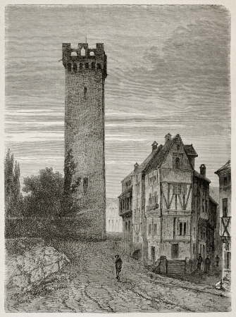 black ancestry: Goetz jail old view, Germany. Created by Stroobant, published on Le Tour Du Monde, Paris, 1867