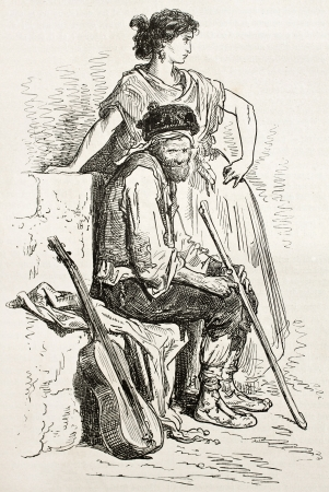 old fashioned sepia: Spanish guitarrst and dancer, La Mancha. Created by Gustave Dore, published on Le Tour Du Monde, Ed. Hachette, Paris, 1867 Editorial