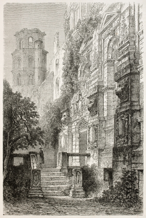 black ancestry: Heidelberg castle entrance old view, Germany. Created by Stroobant, published on Le Tour Du Monde, Paris, 1867