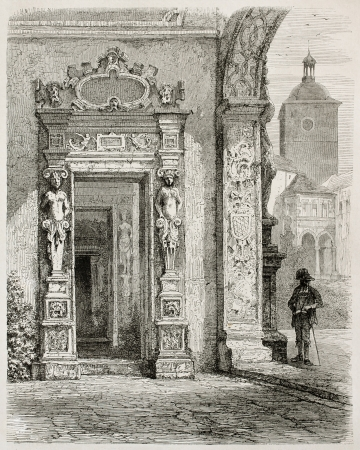 published: Heidelberg castle: internal door. Created by Stroobant, published on Le Tour Du Monde, Paris, 1867
