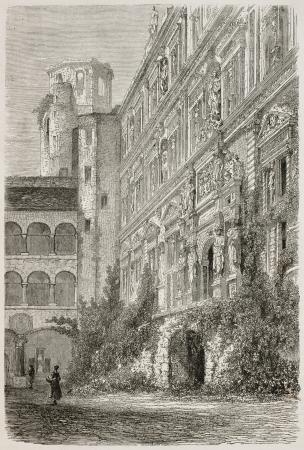 black ancestry: Heidelberg castle: Othon-Henri palace. Created by Stroobant, published on Le Tour Du Monde, Paris, 1867