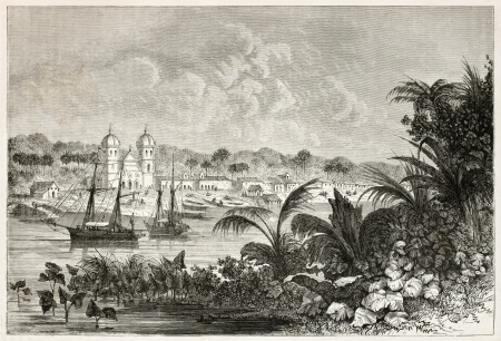 amazonas: Igarape-Miri old view, Brazil. Created by Riou, published on Le Tour du Monde, Paris, 1867