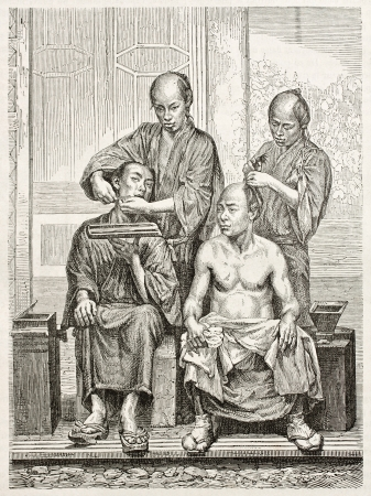 Japanese barbers old illustration. Created by Perrin after photo by unknown author, published on Le Tour Du Monde, Paris, 1867