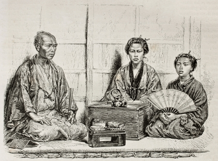 Japanese family in traditional clothing. Created by Neuville after photo of unknown author, published on Le Tour Du Monde, Ed. Hachette, Paris, 1867  Stock Photo - 15181132